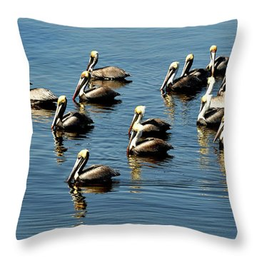 Pelicans Blue Throw Pillow