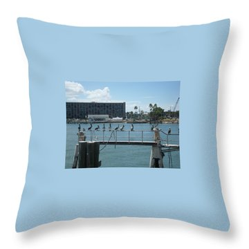 Pelicans In A Row Throw Pillow