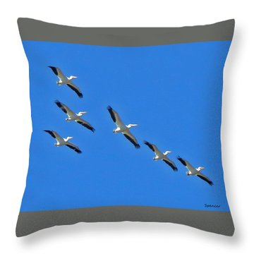 Pelicans In Blue Throw Pillow