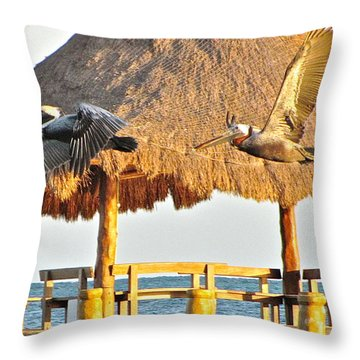 Throw Pillow featuring the photograph Pelicans In Flight by Sean Griffin