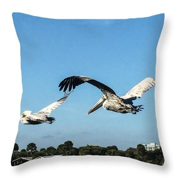 Pelicans Inflight Throw Pillow by Nance Larson