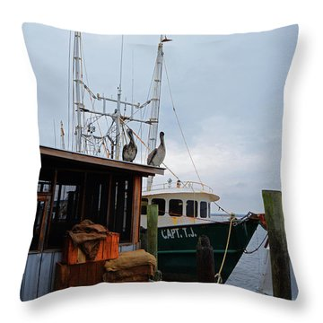 Pelicans Looking For Lunch Throw Pillow