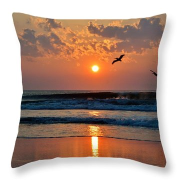 Pelicans On The Move Throw Pillow