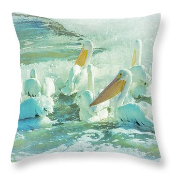 Pelicans On The Tide Throw Pillow
