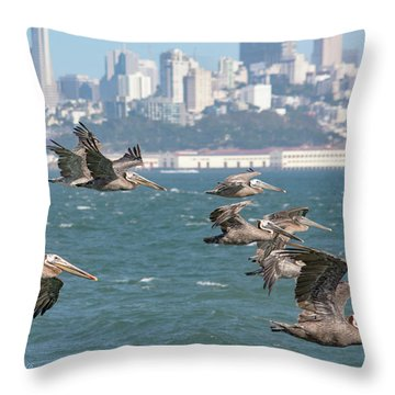 Pelicans Over San Francisco Bay Throw Pillow
