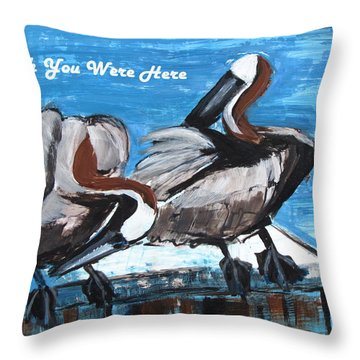 Pelicans Up Close And Personal Throw Pillow by Betty Pieper