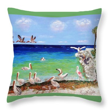 Pelicans Throw Pillow by Vicky Tarcau