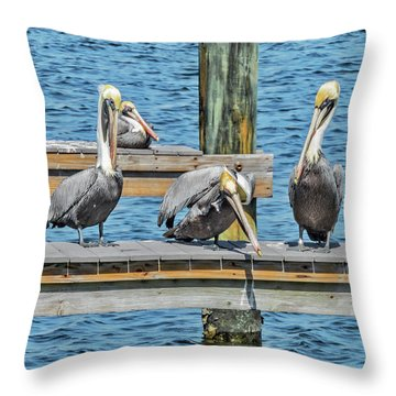 Throw Pillow featuring the photograph Pelicans Waiting For Their Ship To Come In by Bob Slitzan