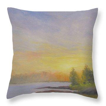Pemaquid Beach Sunset Throw Pillow