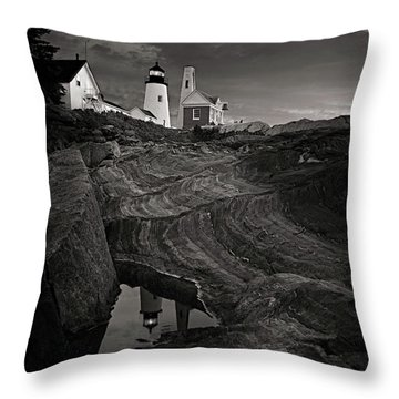 Pemaquid Lighthouse At Dawn Black And White Throw Pillow