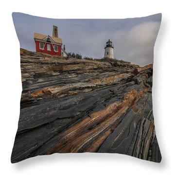 Pemaquid Point Cliffs Throw Pillow