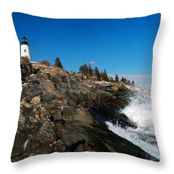 Pemaquid Point Lighthouse - Seascape Landscape Rocky Coast Maine Throw Pillow by Jon Holiday