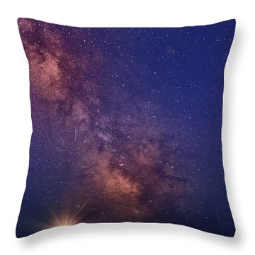 Pemaquid Point Lighthouse And The Milky Way Throw Pillow