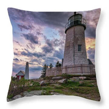 Pemaquid Point Lighthouse At Sundown Throw Pillow