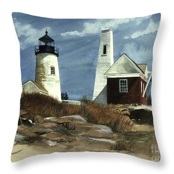 Throw Pillow featuring the painting Pemaquid Point Lighthouse  by Nancy Patterson
