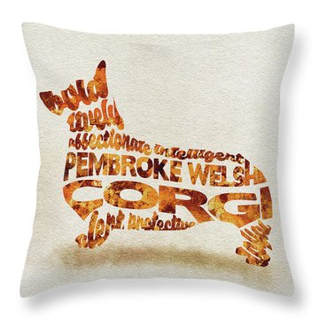 Throw Pillow featuring the painting Pembroke Welsh Corgi Watercolor Painting / Typographic Art by Ayse and Deniz