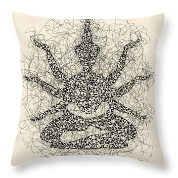 Pen And Ink Drawing Buddha  Throw Pillow