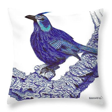 Pen And Ink Drawing Of Blue Bird Throw Pillow by Mario Perez