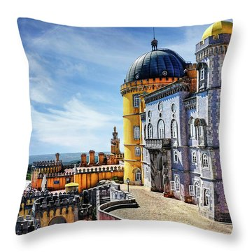 Throw Pillow featuring the photograph Pena Palace In Sintra Portugal  by Carol Japp