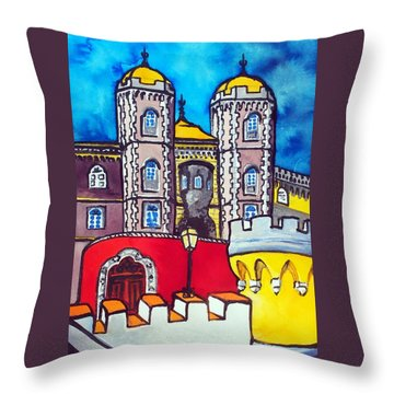 Throw Pillow featuring the painting Pena Palace In Sintra Portugal  by Dora Hathazi Mendes