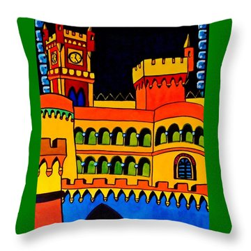 Throw Pillow featuring the painting Pena Palace Portugal by Dora Hathazi Mendes