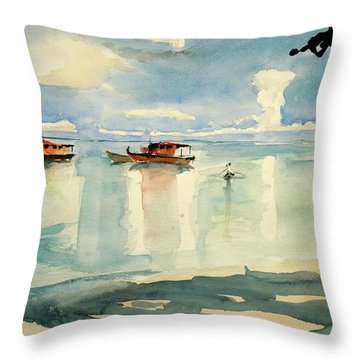 Penang Beach Throw Pillow by Tom Simmons