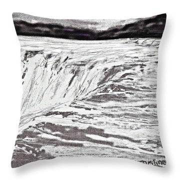 Throw Pillow featuring the drawing Pencil Falls by Desline Vitto