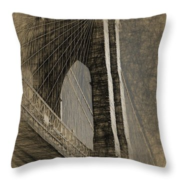 Pencil Sketch Of The Brooklyn Bridge Throw Pillow