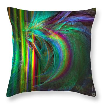 Throw Pillow featuring the digital art Penetrated By Life - Abstract Art by Sipo Liimatainen