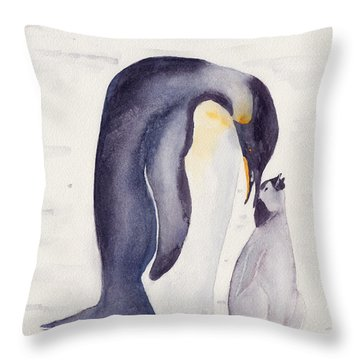 Penguin And Baby Throw Pillow by Ken Powers