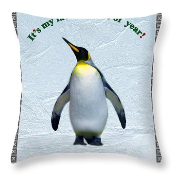 Penguin Christmas Throw Pillow by Steve Karol