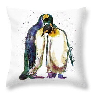 Penguin Couple Throw Pillow by Marian Voicu