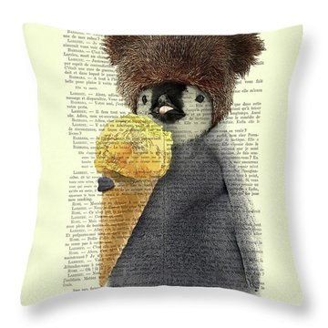 Penguin Ice Cream Throw Pillow