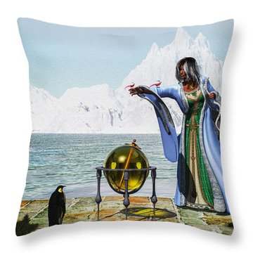 Penguin Magic And The Winter Witch Throw Pillow by Bob Orsillo