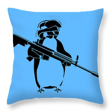 Penguin Soldier Throw Pillow by Pixel Chimp