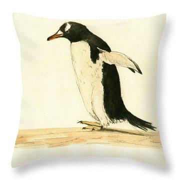 Penguin Walking Throw Pillow