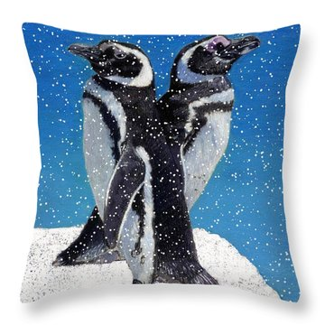 Penguins In The Snow Throw Pillow by Patricia Barmatz