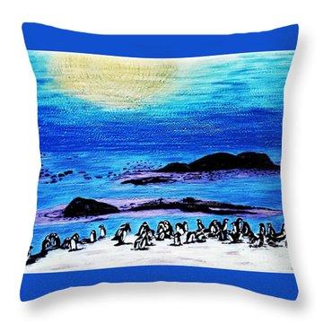 Penguins Land Throw Pillow