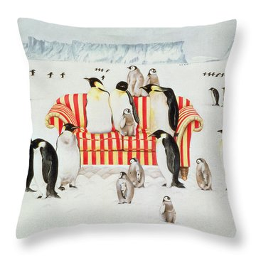 Penguins On A Red And White Sofa  Throw Pillow
