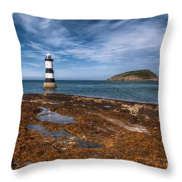 Penmon Lighthouse Throw Pillow by Adrian Evans