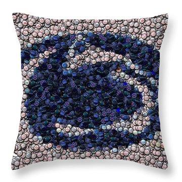 Penn State Bottle Cap Mosaic Throw Pillow by Paul Van Scott