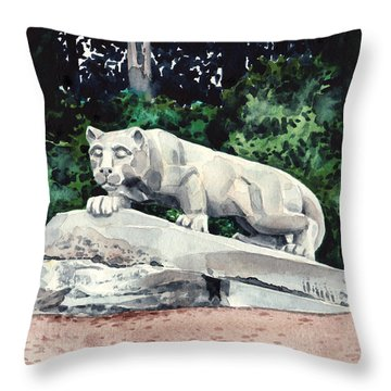 Penn State Nittany Lion Shrine University Happy Valley Joe Paterno Throw Pillow by Laura Row