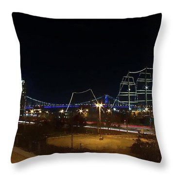 Penn's Landing Throw Pillow by Leeon Pezok