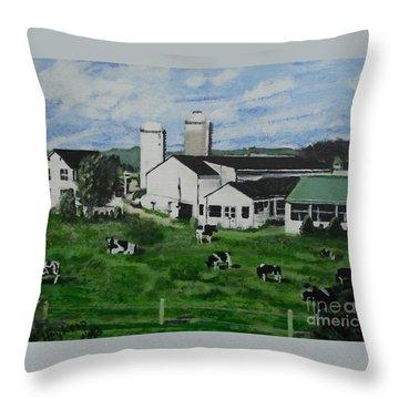 Pennsylvania Holstein Dairy Farm  Throw Pillow