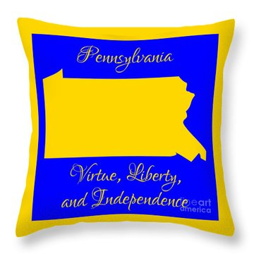 Pennsylvania Map In State Colors Blue And Gold With State Motto Virtue Liberty And Independence Throw Pillow by Rose Santuci-Sofranko