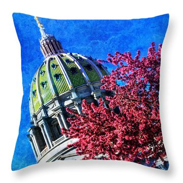 Throw Pillow featuring the photograph Pennsylvania State Capitol Dome In Bloom by Shelley Neff