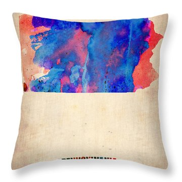 Pennsylvania Watercolor Map Throw Pillow by Naxart Studio