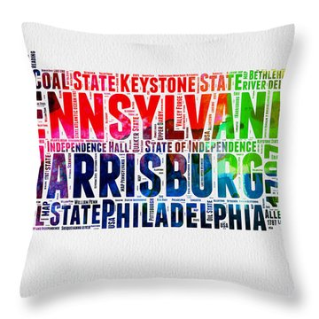 Pennsylvania Watercolor Word Cloud Map  Throw Pillow