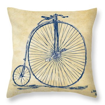 Penny-farthing 1867 High Wheeler Bicycle Vintage Throw Pillow by Nikki Marie Smith