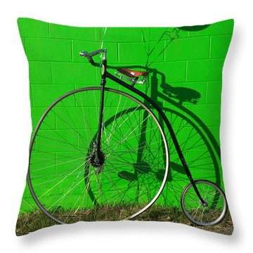 Penny Farthing Bike Throw Pillow by Garry Gay